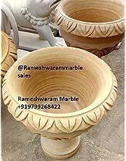 RM 18 * 18inch Outdoor Decor Garden Birdbath or Flower Pot Marble Pot Bowl by Rameshwaram Marble Made of Stone