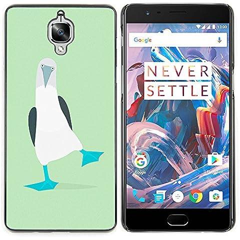ONEPLUS 3 / OnePlus Three - Metal de aluminio y de plástico duro Caja del teléfono - Negro - Pies verde linda del pingüino turquesa