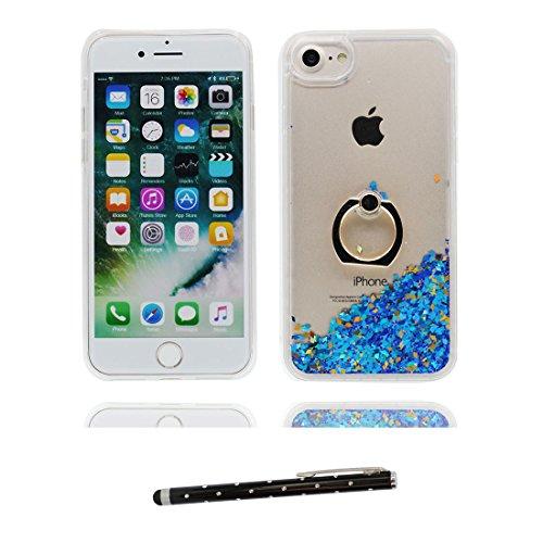 """iPhone 7 Coque, Étui Cover pour iPhone 7 4.7"""", Bling Glitter Fluide Liquide Sparkles Sables Shell iPhone 7 Case 4.7"""", Pink Love Résistant à la poussière Scratch ring Support & stylet bleu"""