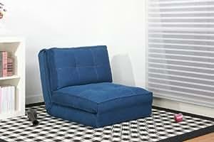 Artdeco Poltrona letto, (rivestimento in tessuto jeans, grande)