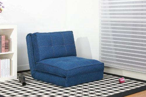 ARTDECO Schlafsessel Gästebett Jugendsessel Bettsessel (Stoffbezug Jeans)