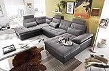 lifestyle4living Wohnlandschaft in Anthrazit und Schwarz mit verstellbaren Kopfstützen und Armteilen, Couch ist rückenecht bezogen und hat einen Bettkasten