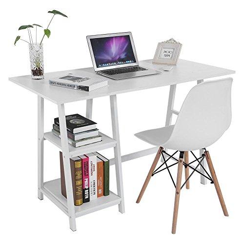 lyrlody Schreibtisch Holz Computertisch Bürotisch Arbeitstisch Workstations PC Tisch mit 2 Ablage für das Home Office, weiß/schwarz, 120 x 60 x 75,5 cm (weiß) -