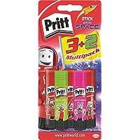 Pritt PS5SE Stick Multipack 3 mit 2, 3 Originalklebestifte und 2 Neonstifte Pink/Grün