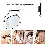 Spaire-Espejos-de-Bao-7x-Aumento-Normal-Doble-Cara-de-8-Pulgadas-Espejo-Maquillaje-de-Pared-Giratorio-Extensible-y-Cromado