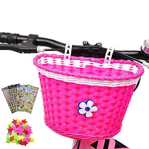 ANZOME Kinder Fahrradkorb, fahrradkorb vorne Kinder mit 36 Stück Speichen Clip Sterne, 3 Stück Alphabet Blume Tier Aufklebern für DIY lenkerkorb mädchen Geschenk Set - Multicolor