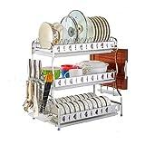 Verdicken Sie Küchen-Zahnstangen Edelstahl-Abfluss-Teller-Messer-Essstäbchen-Rohr Multifunktions Drei-Schicht Haushalt Frei lochender Speicher 53.5cm * 28cm * 54.5cm MUMUJIN