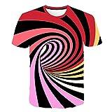 Kurzarm-T-Shirt mit geometrischem 3D-Schwarzweißdruck Farbe2 XXXXL,Unisex Print Schmale Passform T Shirts mit Karikatur Katze 3D Druckmuster