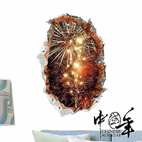 Cartoon Anime dekorative Malerei Schlafzimmer Wohnzimmer Fernseher Sofa Hintergrund HD-Dimensionalen 3D Wall Sticker Wallpaper (Feuerwerk), 83 x 58 (Hd Weihnachten Wallpaper)