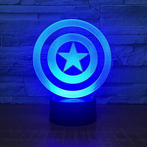 CYJQT 3D Nachtlicht Für Kinder Captain America Schild Thema Led-Licht 7 Farbwechsel Touch Stimmung Licht Weihnachtsgeschenk Tischlampe -