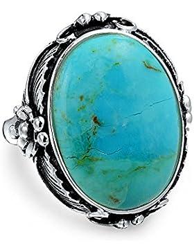 Bling Jewelry Oval blau Türkis Edelstein Sterling Silver Leaf Flower Ring