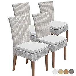 casamia Lot de 4 chaises de salle à manger en rotin blanc avec coussins d'assise