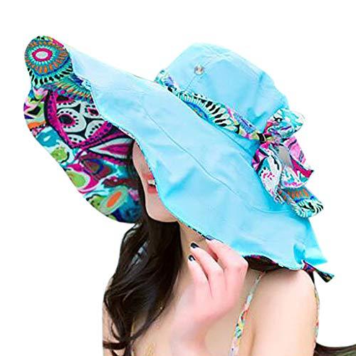 Produp Women drucken Zwei Seiten große Brim Straw Hut Sun Floppy breit Brim Hüte Beach Cap würdevoll und großzügig Nizza und komfortable Hut