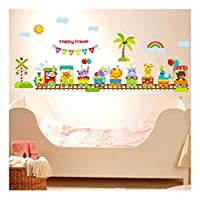 QTZJYLW Children Cartoon Train Animal Wall Sticker Pvc Bedroom Background Wall Stickers For Kids Rooms Home Decor(60×90Cm)