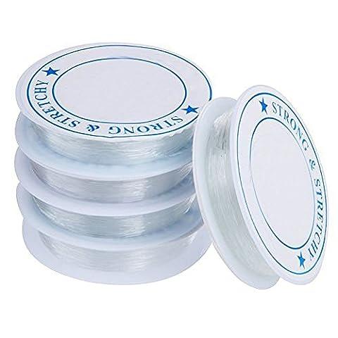 CAOLATOR 5X 0.7mm Stretchmagic Transparent Elastikband Gummifaden Elastisch für Perlenschmuck Handwerk und DIY