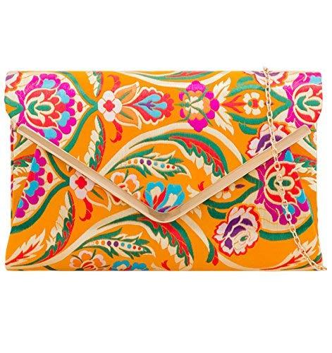 Bolso de mano morado con diseño de flores, color amarillo mostaza y satén para mujer, bolso de hombro grande de rosa, púrpura, azul, verde, flores, bailes y bodas