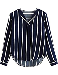 Camiseta Mujer,Mujer Casual Otoño Manga Larga Cuello en V Camisa a Rayas Blusa Irregular Blusas para Mujer Manga Larga Blusas para…