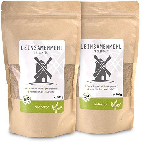 bioKontor // Leinsamenmehl, Leinmehl - teilentölt, low carb, Omega-3-Fettsäuren - 2x500 g - BIO (1000g) -