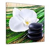 Kunstdruck - Zen Steine VI - Bild auf Leinwand - 40 x 40 cm - Leinwandbilder - Bilder als Leinwanddruck - Geist & Seele - Asien - Wellness