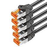 mumbi 5er Set 0,5m CAT.7 Rohkabel S/FTP Ethernet Lan Patch Netzwerk Kabel - RJ45 Stecker - 0,5 Meter Kabel in schwarz