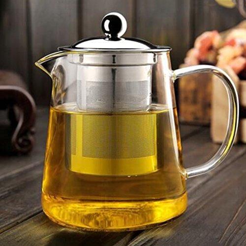 leoboone Ungiftige transparente klare Borosilikatglas-Teekanne Elegante Glasteetasse-Teekanne mit Edelstahl-Infuser-Sieb, transparent