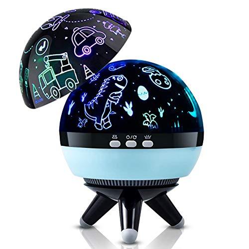 Infantil Proyector Lampara,Dinosaurio Luz de Noche Lámpara para Niños,360° Rotación y 8 Modos Romántica Noche Lámpara, Luz de Nocturna para niños, Bebés, Regalos de navidad, Dormitorio Decoración