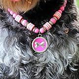 Mode Haustier Hund Katze Halskette Haustier Zubehör Runde Knochen Anhänger Acryl Perlen Haustiere Hunde Katzen Kragen Schmuck - Rosa L