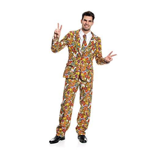 Herren Witzige Kostüm - Kostümplanet® Hippie Kostüm Blümchen Anzug Herren witziges Herrenkostüm Größe 56/58