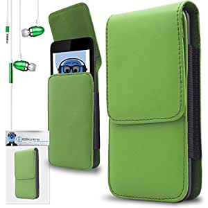 iTALKonline Samsung D780 Green PREMIUM PU Leather Vertical Executive Side Pouch Case Cover Holster with Belt Loop Clip and Magnetic Closure Includes Green Premium 3.5mm Aluminium High Quality In Ear Stereo Wired Headset Hands Free Headphones with Built in Mic Microphone and On Off Button
