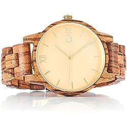 Cari Herren Männer Uhr Schweizer Quarzwerk mit Zebrano Holz-Armband Holzuhr London-071