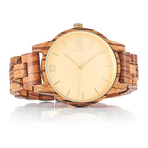 Cari Herren Holz Armbanduhr London - Zebrano Holz mit Saphirglas und Schweizer Uhrwerk