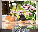 ABAKUHAUS Spa Panneaux de Rideaux, Composition de Massage Spa Aux Bougiesorchidées Et des Pierres dans Un Jardin, Ensemble à Deux Panneaux à imprimé Gras, 280 x 175 cm, Vert Pâle