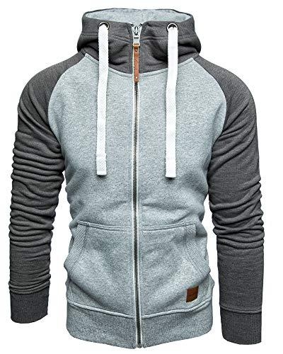 Amaci&Sons Herren Zipper Kapuzenpullover Sweatjacke Pullover Hoodie Sweatshirt 1-04030 Hellgrau/Anthrazit S - 6
