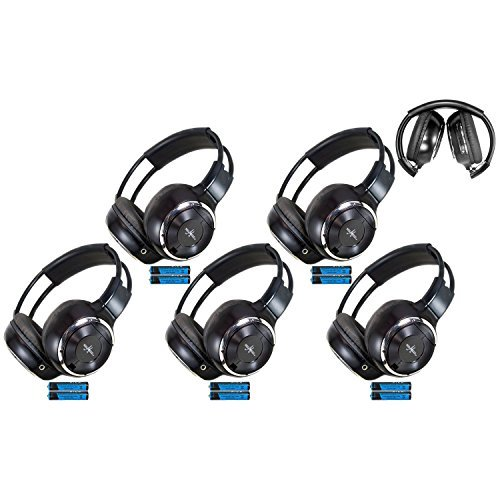 Five Pack of Two Channel Folding Adjustable Universal Rear Entertainment System Infrared Headphones With 5 Additional 48 3.5mm Auxiliary Cords Wireless IR DVD Player Head Phones for in Car TV Video Audio Listening
