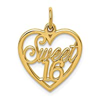 Big Sur Elegance 14k Yellow Gold Sweet 16 Charm (15 x 21 mm)