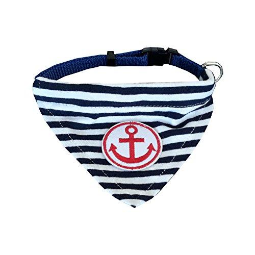 Fully 2er/Set Streifen Halsschal Bib Kragen Halstuch Anker Halsschmuck Dreieck Halsband für Hunde Katze Verstellbar (S (Halsumfang: 20-35cm), rot,blau)