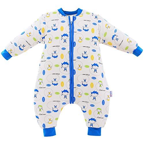 Kinder Schlafsack Körper Verdickung Herbst und Winter Baumwolle Beine Kinder Anti-Kick-Steppdecke 85 * 40cm (Color : Blue)