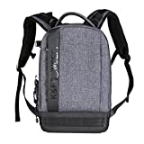 K&F Concept Lightweight DSLR Camera Backpack Water Resistant Nylon Multipurpose Bag for Canon Nikon Fuji and Other Cameras Laptop Ipad - Light Grey(17.32*6.30*11.42')