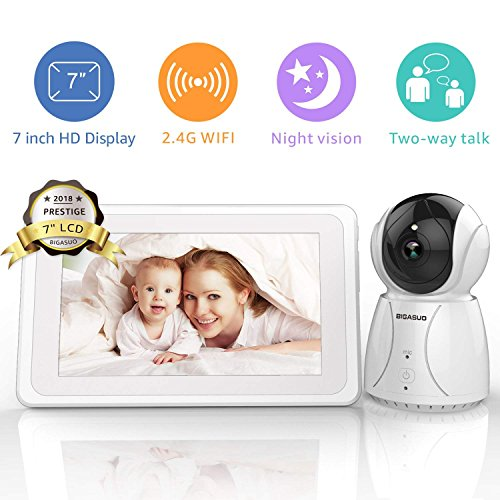 BIGASUO Baby Monitor Wireless Video Baby Monitor 7' LCD IPS Display Baby Lullabies WiFi Remote Baby Monitor with 2-Way Talk Automatic Night Vision Motorized Pan/Tilt/Zoom Temperature Monitoring