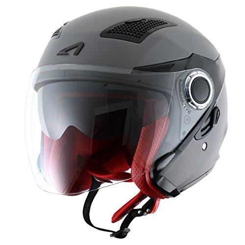 Astone Helmets fibra, Casco Jet, color Matt Gun Metal, talla L