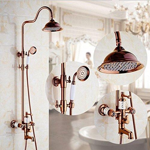 Zxy Home Bad ZXY europäische gold dusche hand - lift dusche kupfer heiß anzug mischen,rose gold