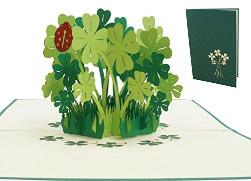 LIN17523, POP- UP Karten, POP UP Karten Geburtstag, 3D Grußkarten 3D Karte Klappkarte Geburtstagskarte Viel Glück Gute Besserung, Kleeblätter, N276 3d-karte