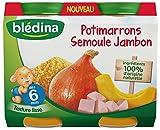 Blédina Petits Pots Potimarrons Semoule Jambon dès 6 mois 2 x 200 g