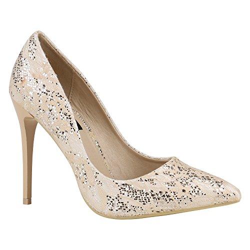 Spitze Damen Pumps High Heels Lack Stilettos Schuhe 157125 Nude Spitze 37 Flandell