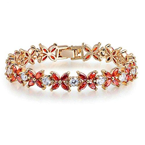 Daesar Vergoldet Armband Damen Bettelarmband für Damen Rot Kreuz Blume Zirconia Armband für Damen Länge:17CM