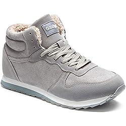 Gaatpot Zapatos Invierno Botas Forradas de Nieve Zapatillas Sneaker Botines Planas para Hombres Mujer Gris EU 46 = CN 48