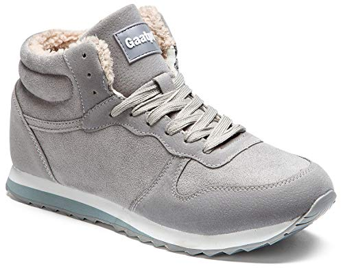 Gaatpot Herren Damen Stiefel Schneestiefel Hohe Sneaker Warm gefütterte Schnürstiefel Schuhe Grau EU 37 = CN 38