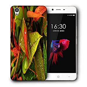 Snoogg Water Drops On Leaf Printed Protective Phone Back Case Cover For OnePlus X / 1+X