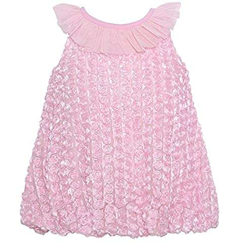 Rare Editions Baby Girls Pink Rosette Ruffled Neckline Occasion Dress 6-9M