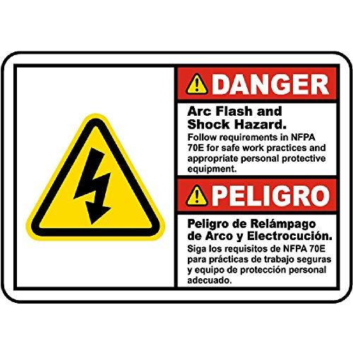 Arc Flash Follow NFPA 70E Danger Tin Sign House Decor Food Drink Bar 8  Inches x 12 Inches